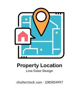 Map and pin with house symbol line color icon