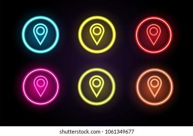 Map pin icon / Check in location concept neon vector illustration.