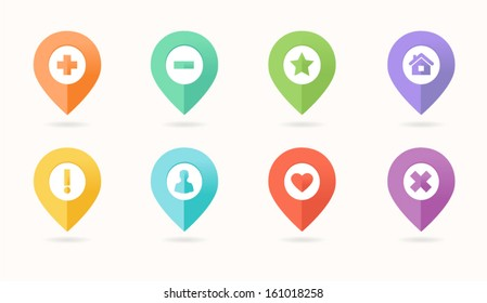 Map pin icon in flat style
