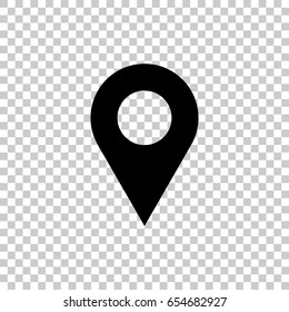 Map pin icon isolated on transparent background. Black symbol for your design. Vector illustration, easy to edit.