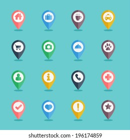 map pin icon set flat design for web and mobile application