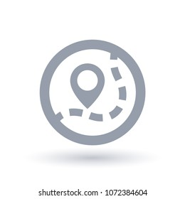 Map pin icon. Trail marker symbol. Path navigation sign in circle outline. Vector illustration