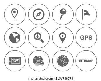 Map pin icons set - navigation marker - travel gps sign & symbols