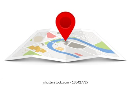 Map with a pin isolated on white. Fully transparent. Any background can be used.