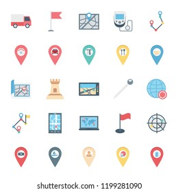 Map and pin Isolated Vector icons set consist with van, flag, device, pin and castle