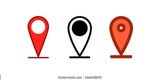 Map pin, location icon. Gps position symbol.