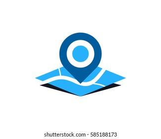 Map Pin Logo Design Element