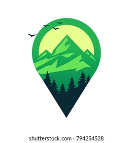 Map pin with mountains, vector icon.