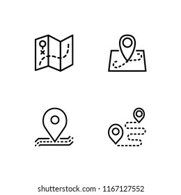 Map, pin, placeholder, location, gps and direction. Set outline icon EPS 10 vector format. Professional pixel perfect black, white icons. Transparent background.