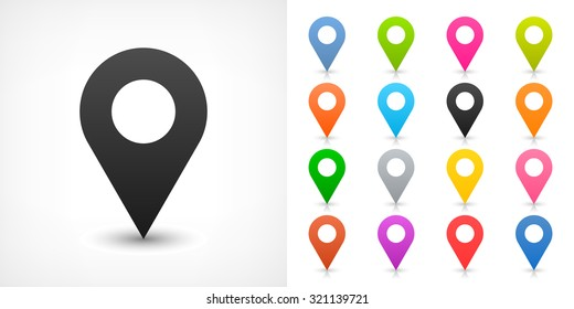 Map pin sign location icon with drop shadow in flat simple style. Black, blue, cobalt, yellow, green, red, magenta, orange, pink, violet, purple, gray, brown shapes on white background. Vector 8 EPS