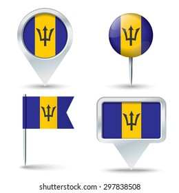 Map pins with flag of Barbados - vector illustration