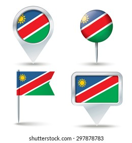 Map pins with flag of Namibia - vector illustration