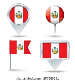 Map pins with flag of Peru - vector illustration