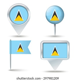 Map pins with flag of Saint Lucia - vector illustration