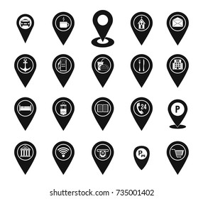 Map pins icon set. Simple set of map pins vector icons for web design isolated on white background