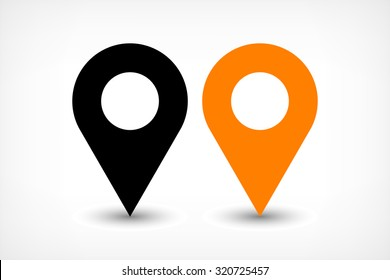 Map pins sign location icon with ellipse gray gradient shadow in flat simple style. Black and orange color rounded shapes isolated on white background. Vector illustration web design element 8 EPS