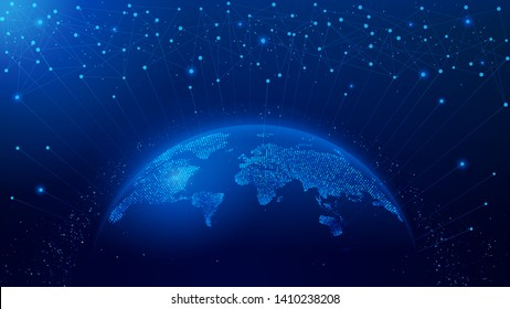 Map of the planet. World map. Global social network. Future. Vector. Blue futuristic background with planet Earth. Internet and technology. Abstract image of dots and lines. Floating blue plexus.