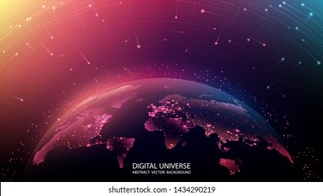 Map of the planet. World map. Global social network. Future. Vector. Violet and blue futuristic background with planet Earth. Internet and technology. Floating blue plexus geometric background.