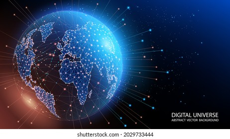 Map of the planet. World map. Global social network. Vector. Future. Blue futuristic background with planet Earth. Global World Wide Web internet. Floating blue plexus geometric background.