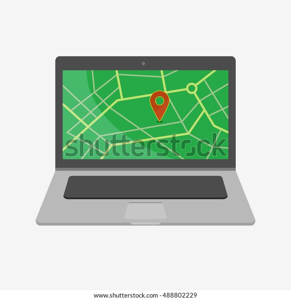 Map Point Google Mapslaptop Vector Illustration Stock Vector ... on pal map, ata map, indicator scale on map, nfa map, con map, glonass map, lab map, fal map, digital mind map, march map, rocket city map, concealer map, ess map, ntsc map, access point map, tip map, lcd map, ddos map, ink drawing map, watson's map,