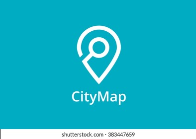 Map Point Location Logo. City locator design vector template. Pin maps symbol vector . Gps icon design vector. Simple clean design. Geo point navigation logotype.