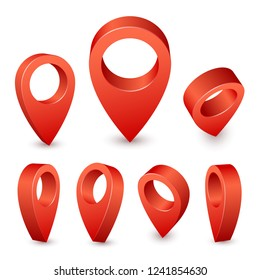 Map pointer 3d pin. Pointer red pin marker for travel place. Location symbols vector set isolated on white background