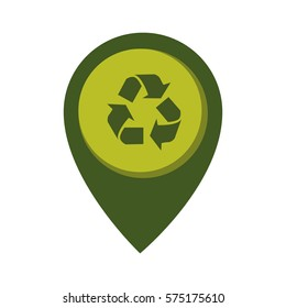 map pointer with circle interior with recycling symbol