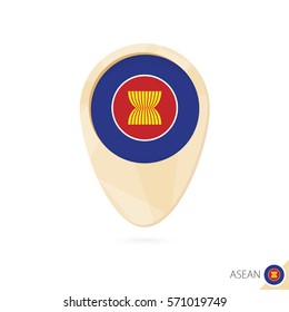 Map pointer with flag of ASEAN. Orange abstract map icon. Vector Illustration.