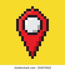 Map pointer flat icon, pixel art.