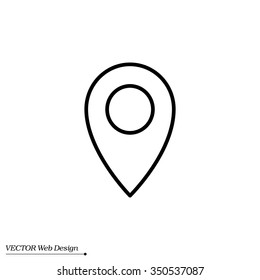 Map pointer flat line icon, vector illustration. Flat design style
