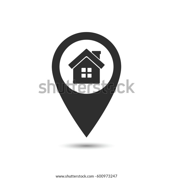 Map pointer with Home icon, vector map location sign.