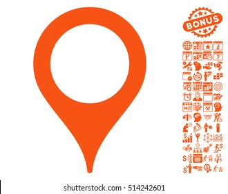 Map Pointer icon with bonus calendar and time management icon set. Vector illustration style is flat iconic symbols, orange color, white background.
