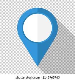 Map pointer icon in flat style with long shadow on transparent background
