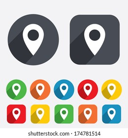 Map pointer icon. GPS location symbol. Circles and rounded squares 12 buttons. Vector