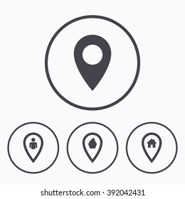 Map pointer icons. Home, food and user location symbols. Restaurant and cupcake signs. You are here. Icons in circles.