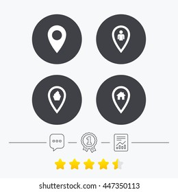 Map pointer icons. Home, food and user location symbols. Restaurant and cupcake signs. You are here. Chat, award medal and report linear icons. Star vote ranking. Vector
