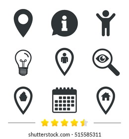 Map pointer icons. Home, food and user location symbols. Restaurant and cupcake signs. You are here. Information, light bulb and calendar. Investigate magnifier. Vector