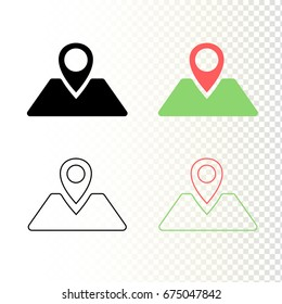 Map pointer icons isolated on white and transparent background. Icon of geolocation tag. Black, color and outline icons. Flat vector icons.