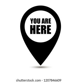 Map pointer icons. Marker location icon with you are here. Map pin icon with you are here