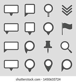 Map Pointer Icons. Sticker Design. Vector Illustration.