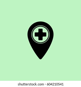 Map pointer with medicine cross vector icon
