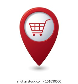 Map pointer with shopping cart icon. Vector illustration