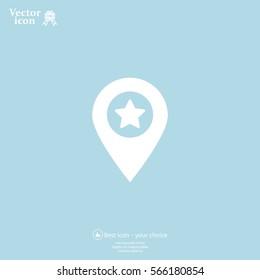 Map pointer star icon