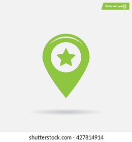 Map pointer with star - places optimization. Vector icon