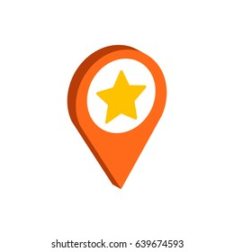 Map Pointer with Star symbol. Flat Isometric Icon or Logo. 3D Style Pictogram for Web Design, UI, Mobile App, Infographic. Vector Illustration on white background.