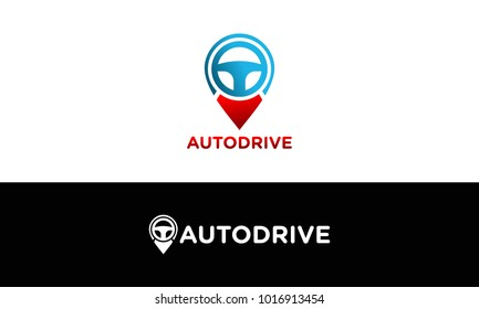 map pointer and steering whell combination, GPS locator and autodrive symbol