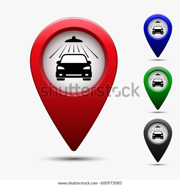 Map pointer with symbol car wash. Vector isolated set.
