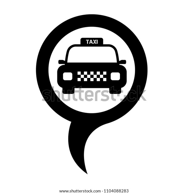 Map pointer with taxi icon. Vector illustration