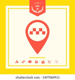 Map pointer with Taxi sign. Graphic elements for your design