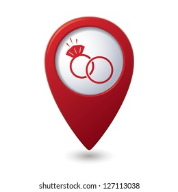 Map pointer with wedding rings icon. Vector illustration